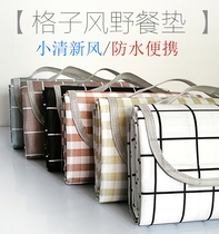 Outdoor plaid picnic blanket ins wind spring picnic mats picnic cloth pastoral Japanese portable waterproof picnic pad