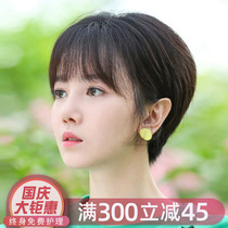Wig female short hair round face full live hair net red cute short hair fluffy natural full head fake hair set
