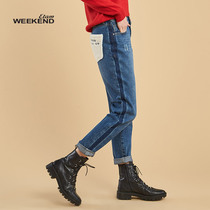 Aige Weekend2018 Winter New female metal button cute pocket jeans 8E022311741