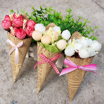 Newspaper bouquet ins photo props photography decorative background mini small rose simulation flower shooting swing shoot ornaments