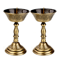 Poly edge Court alloy candlestick ornaments Chinese retro gold a pair of Lotus candle lamp home Buddha altar supplies