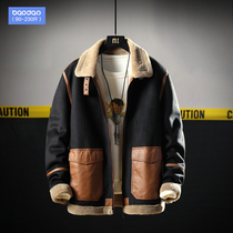 Autumn and winter men loose tooling cotton wool lamb suede Tide brand plus fertilizer plus size fat fat casual jacket