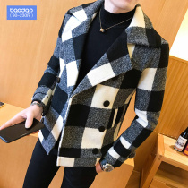Autumn and winter men's plaid windbreaker loose woolen coat Tide brand casual woolen coat plus fat plus size fat