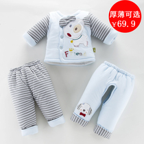 Baby padded cotton suit autumn and winter three-piece cotton newborn jacket baby clothes 0-3-6 months