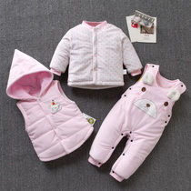 Baby clothes winter baby childrens cotton suit infant coat thickening 0-1-2 years old men and women fall and winter clothes