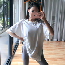 Fitness girl net yarn quick-drying t-shirt loose running blouse net red yoga clothes top large size sports short sleeve thin