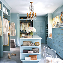 Road blue all solid wood wardrobe walk into the whole cloakroom cabinet wood custom national measurement water-based paint