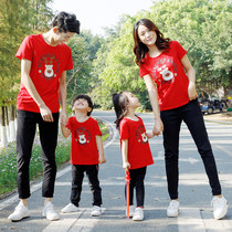 Net red parent-child loaded summer shaking sound mother and daughter installed a family of three Western-style family ins Super Fire summer T-shirt