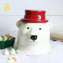 Nordic wind cute polar bear storage tank ceramic swing large-capacity snack storage can candy can girl heart