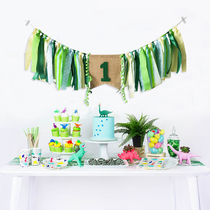 Dinosaur forest birthday birthday party layout one year old flag color year-old flower baby chair decoration