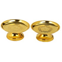 High-footed gold plastic Fu word fruit plate for the plate for the Buddha Lizi Buddha Temple Buddhist crafts Buddha