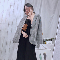 Hong Kong flavor retro chic small suit jacket female 2019 new autumn and summer fashion plaid loose casual suit tide