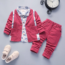 Childrens clothing 0 baby childrens clothing 1 male baby spring and autumn suit 2 Korean version of the style 3-year-old boy suit three-piece suit