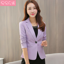 2019 spring new womens suits short paragraph coat slim waist small suit female Korean version of the long-sleeved shirt