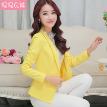 2019 spring new small suit female jacket short paragraph long-sleeved suit slim Korean casual small suit short jacket