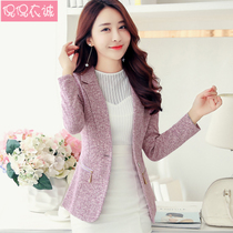 2019 spring new small suit jacket large size womens Korean slim long-sleeved suit short paragraph shirt casual tide