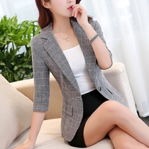 chic plaid small suit female Korean short paragraph thin jacket sleeves 2019 spring casual retro suit slim