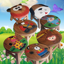 Thai handmade wood cartoon childrens stool stool baby stool cute animal small bench home round stool chair