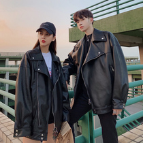 Hong Kong wind autumn new Korean version of the couple installed Leather Mens youth students jacket leather jacket handsome trend