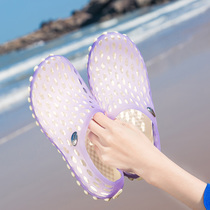 Summer breathable Beach beach shoes couple hole shoes student shoes summer non-slip Baotou soft sandals slippers