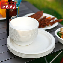 Disposable paper bowl disposable bowl paper bowl round household disposable tray disposable tray paper tray commercial