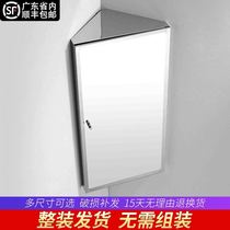 Stainless steel bathroom corner mirror cabinet mirror box sanitary toilet mirror with shelves triangular mirror cabinet wall hanging cabinet