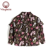 (1 pcs 80 percent 2 pieces 75 percent) YouTube girl flower shirt spring and autumn long sleeve childrens shirt