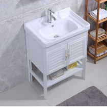 Floor-standing washbasin small apartment space aluminum cabinet combination balcony ceramic one washbasin bathroom bathroom cabinet
