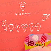E042-my light bulb brothers cute cartoon stickers heart Square personalized wall stickers notebook stickers