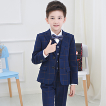 Childrens host lattice suit primary school students British suit five suit boys flower girl dress spring and autumn tide