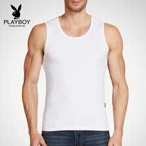 Playboy mens vest breathable bottom wide shoulder sleeveless vest male slim-type sports fitness sweat shirt youth