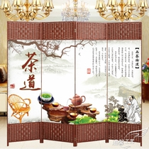 Tea house screen modern simple partition wall block decoration Xuanguan living room tea room office solid wood fabric folding screen.