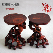 Mahogany crafts solid wood high religious roots carved red sandalwood odd Jade small potted small objects irregular base