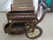 Classical water tanker two-storey bronze solid wood wine car dining car Service vehicle Dim sum car pastry Truck