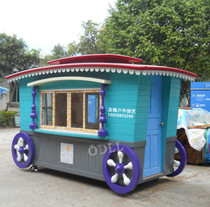 Outdoor anti-corrosion wood mobile kiosks scenic wooden vending House booth newsstand milk tea house vending car custom