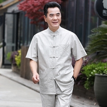 Tangzhuang men in the elderly retro wind linen father summer suit hanfu grandpa half-sleeved casual clothes short sleeve