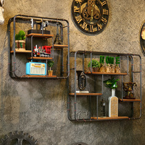 LOFT industrial wind retro wrought iron shelf wall string hair salon lattice shelf restaurant cafe wall decoration