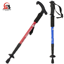 Jungle leopard outdoor genuine mountaineering Rod aluminum climbing Rod t handle straight handle walking mountaineering cane