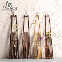 Bamboo wall hanging flower hanger flower rack rattan flower road home decoration purple bamboo Japanese flower insert retro flower.