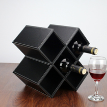 Creative display wine red wine rack simple wine cabinet diamond grid decorative ornaments European wine bottle rack