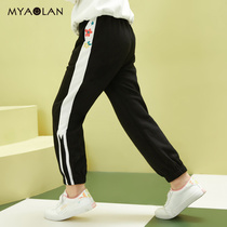 Girls spring new sports pants children's pants in the Big children's leisure pants spring and autumn models of foreign cotton embroidery trousers