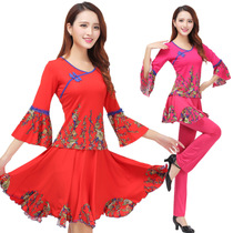 2018 Spring and Summer square dance clothing set printing new long-sleeved dance clothing practice clothes