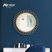 Bathroom bathroom wall decoration mirror wall hanging round mirror bedroom makeup mirror Nordic Iron washbasin mirror