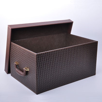 Yachens oversized leather storage box storage box with cover clothing toys finishing box car storage box.
