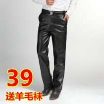 Mens leather pants mens leather pants mens thick velvet warm autumn and winter wear straight tube big code long Pants Promotion