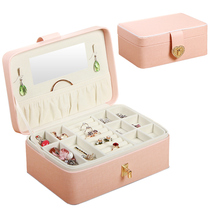 Jewelry storage box high-grade Princess European Korean jewelry box double simple earrings earrings jewelry box big girl