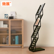 Wrought iron black exhibition A4 folding shelf magazine rack newspaper stand promotional stand newspaper stand advertising color page display rack