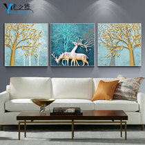 Living room atmosphere warm elk triptych modern fashion home decoration painting plus Bell painting office bedroom hanging painting