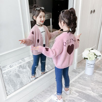Girls cardigan sweater 2019 autumn new Korean version of the Big childrens clothing childrens air Mink cashmere sweater coat