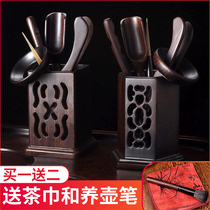 Solid wood tea ceremony six gentleman home combination set kung fu tea accessories with tea tea clip tweezers bamboo
